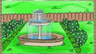 drawing a simple garden fountain how to draw for kids garden trends