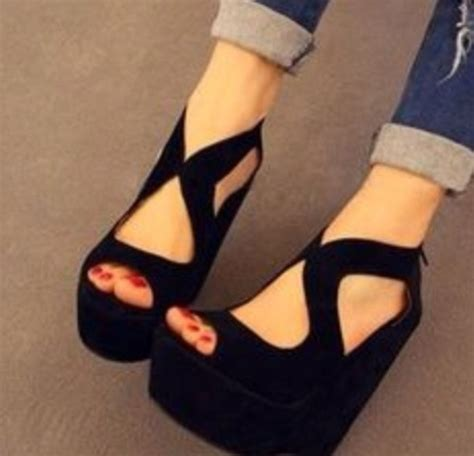 shoes wedges black black wedges heels cut out