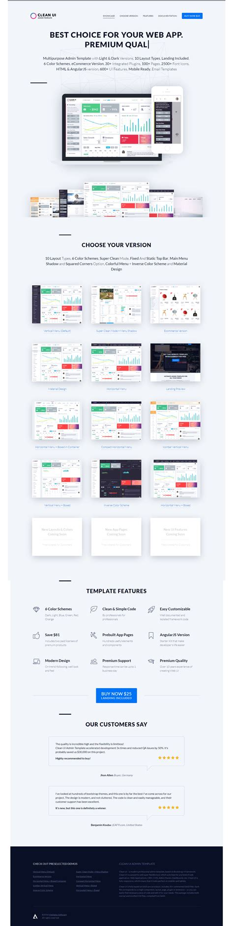 Clean Ui Admin Template Classic Material Design Landing Pages Angularjs Starter Kit Angularjs Landing Page Template