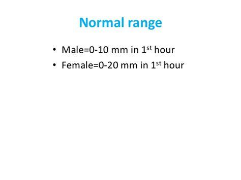 sed rate range erythrocyte sedimentation rate