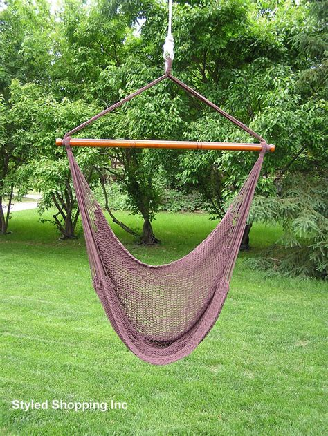 rope hammock swing chair deluxe extr large brown rope cotton hammock swing chair ebay