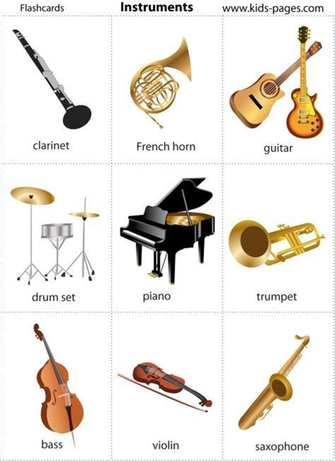 free printable musical instrument flashcards