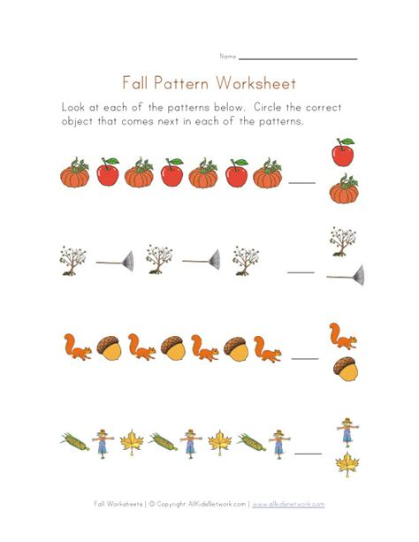 pattern songs for kindergarten patterns worksheet fall theme