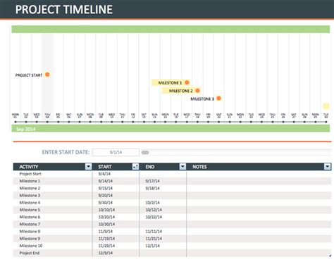 download excel project timeline template free for free