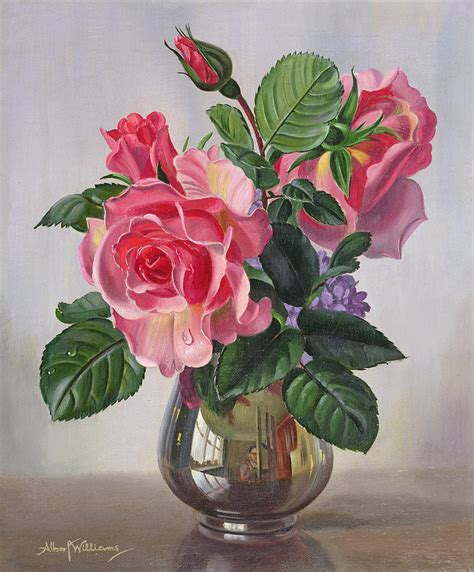Flower Vase Glass Painting Lady Sylvia Roses In A Silver Vase Painting By Albert Williams
