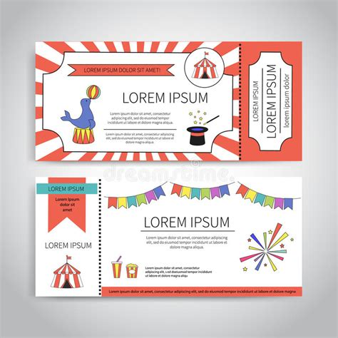 magic card template vector circus tickets design stock vector illustration of animal