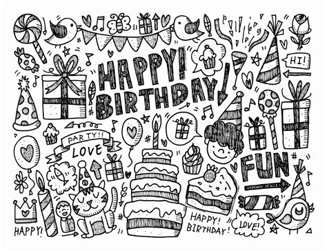 coloring pages for adults birthday doodle happy birthday by notkoo2008 doodling doodle