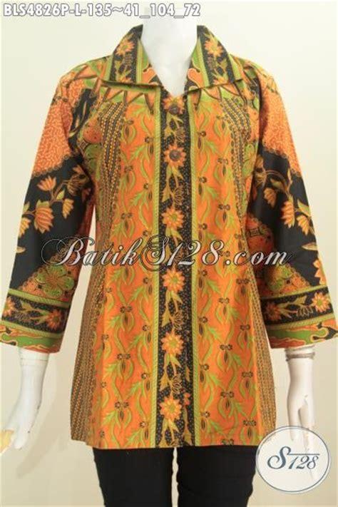 Baju Untuk Kerja Kantoran baju batik perempuan kerja kantoran blus batik elegan kerah kotak motif sinaran proses printing