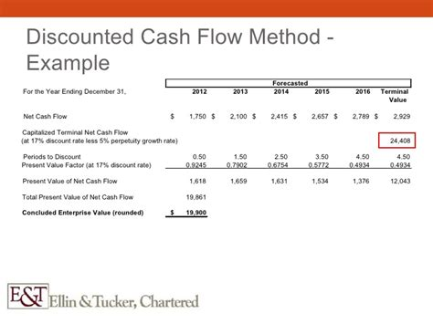 format of discounted cash flow method valuation in a litigation context