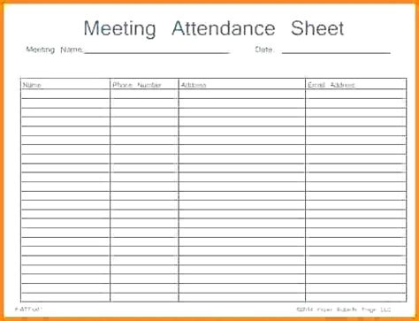 printable attendance sheet register template meeting doc