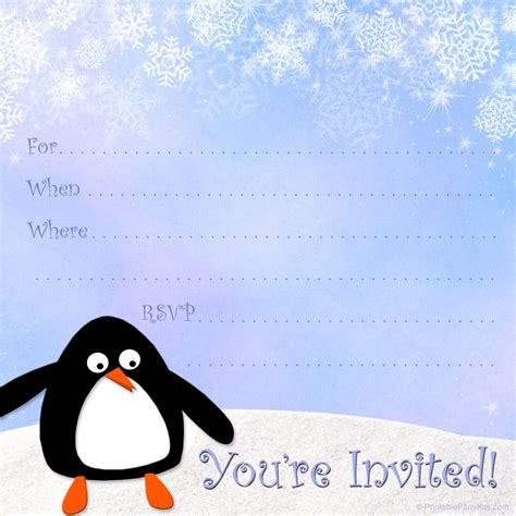 winter invitation template free penguin birthday invitations free