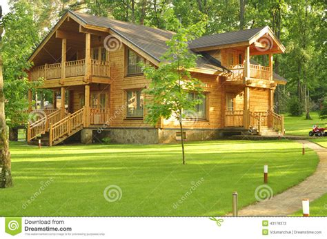 Plans For Building A Cabin by Beautiful Wooden House In The Forest Stock Photo Image