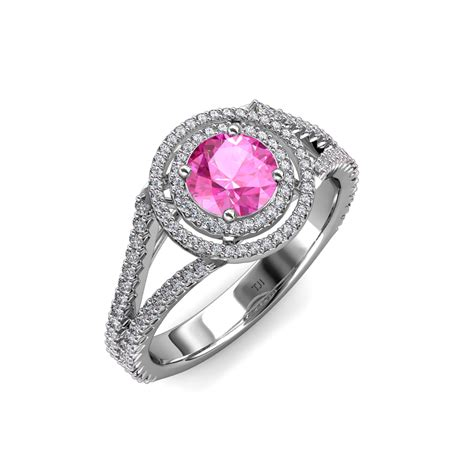100 Pink Sapphire 1 32 Ct pink sapphire halo engagement ring 1 42