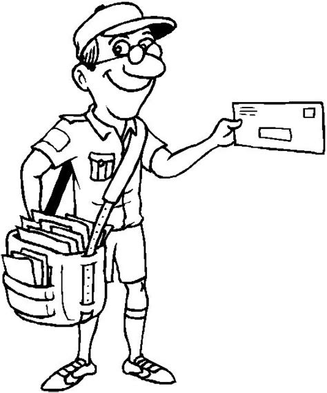 coloring page for job postman coloring page post office pinterest coloring