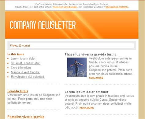 company newsletter template free html newsletter templates noupe