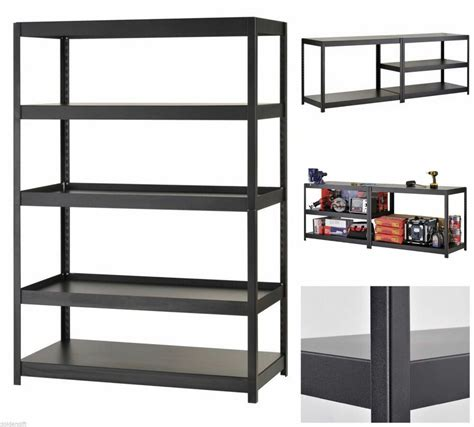 metal garage shelving heavy duty shelf adjustable black metal steel garage storage rack 5level shelves ebay