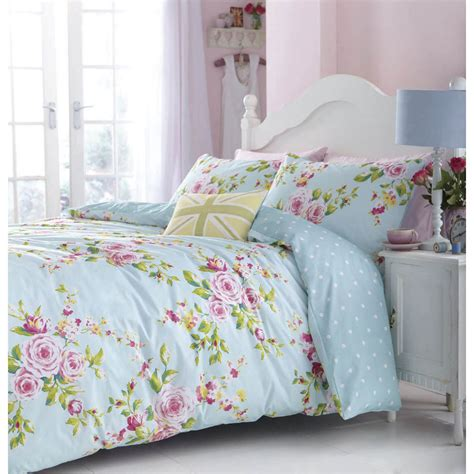 Duck Egg Bed Sets Catherine Lansfield Duck Egg Blue Floral Canterbury Duvet Cover Set Ebay