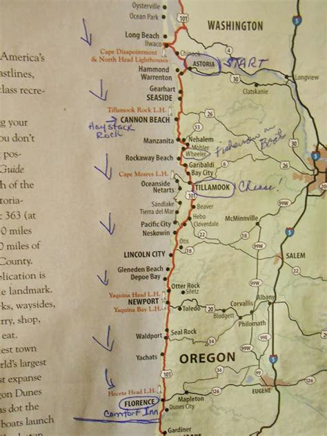 map of oregon highways ramblings of roamers the oregon coast highway 101
