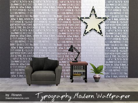 The Sims Resource: Typography Modern Wallpaper by Rirann
