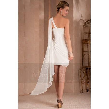Robe Fluide Mousseline Blanche - robe de cocktail courte lumineuse en mousseline blanche