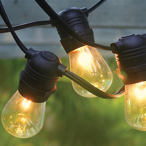 Commercial Grade Patio Light String Black 54 Commercial Grade Heavy Duty Outdoor String Lights W 24 Sockets Bulbs Included