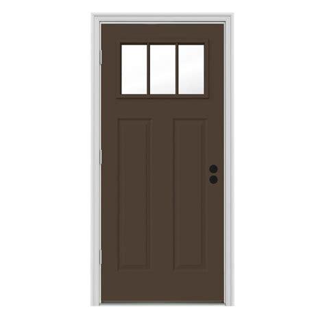 doorcraft doors by jeld wen jeld wen 32 in x 80 in 3 lite craftsman chocolate