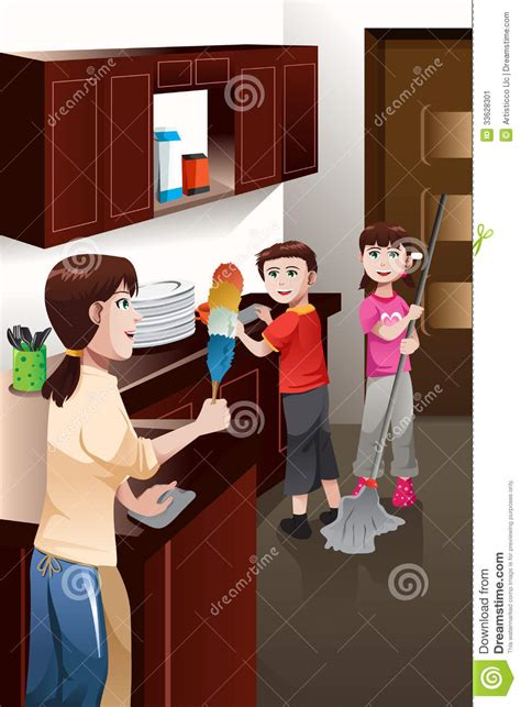 3 Bed House Plans by Kids Helping Their Parent Cleaning House Stock Image