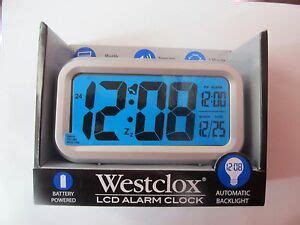 westclox blue lcd alarm clock  battery powered