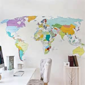 pics photos world map wall decal wallpaper mural for kids room