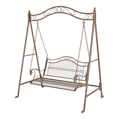 bunnings swings marquee 2 seater rustic iron swing seat with ground pegs i