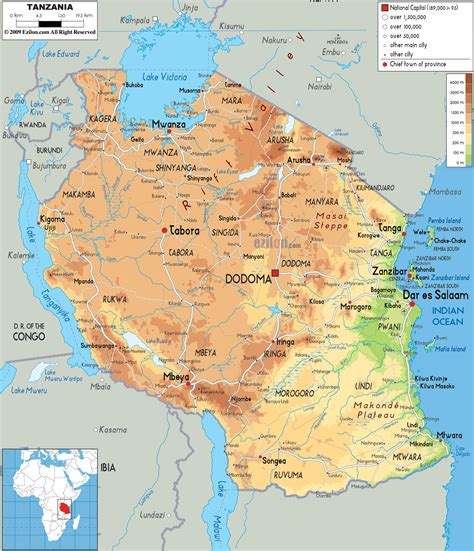 map of tanzania physical map of tanzania ezilon maps