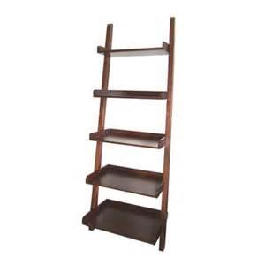 real organized walnut 5 tier ladder book shelf at lowe s