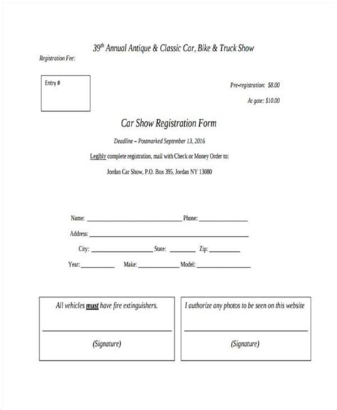 sle workshop registration form template show entry form template 28 images car show