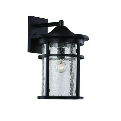 Bel Air Outdoor Lighting Bel Air Lighting 1 Light Black Outdoor Crackled Outdoor Wall Lantern 40381 Bk The Home Depot