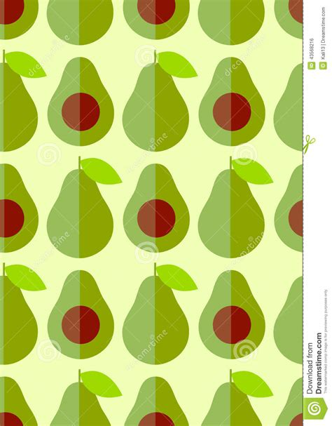 cute avocado pattern flat cute avocado and half with seed stock vector image