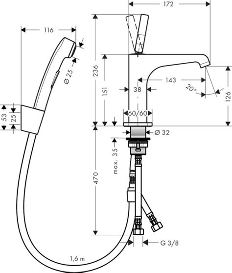Bidet Zeichnung by Axor Citterio E Bidet Mixers Chrome Item No 36130000