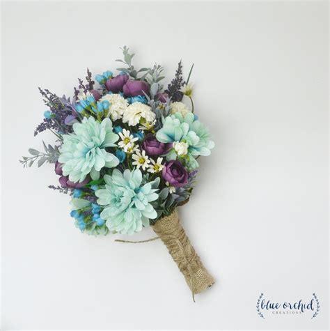 Flower Bouquet by Wildflower Bouquet Lavender Bouquet Turquoise Teal Purple