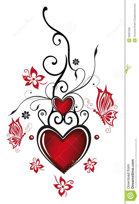 hearts with flowers royalty free stock images image