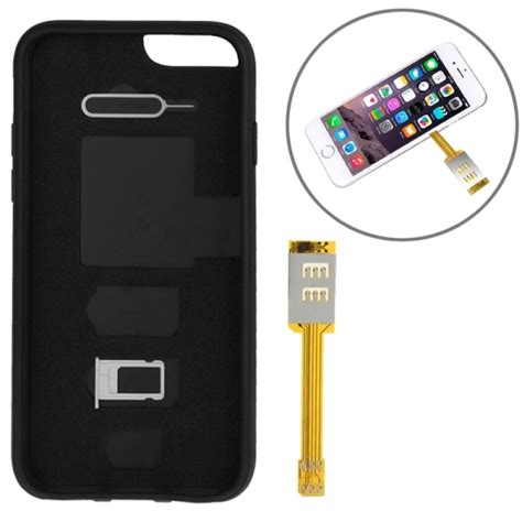 kumishi dual sim card adapter with a back cover for iphone 6s black alex nld