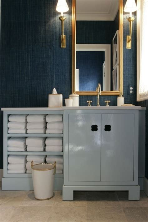 wallpaper blue bathroom teal grasscloth contemporary bathroom drake design