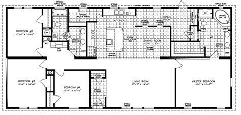 floor plans for a 4 bedroom house large manufactured homes large home floor plans