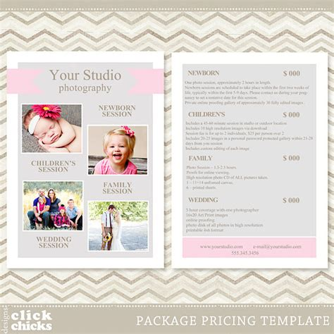 free photography pricing guide template photography package pricing list template price list price