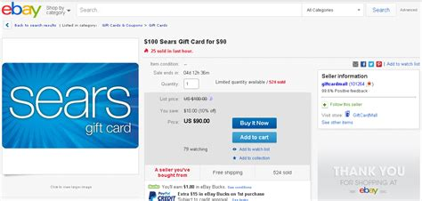 Sell Sears Gift Card - just for today 10 off sears gift card on ebay ways to save money when shopping