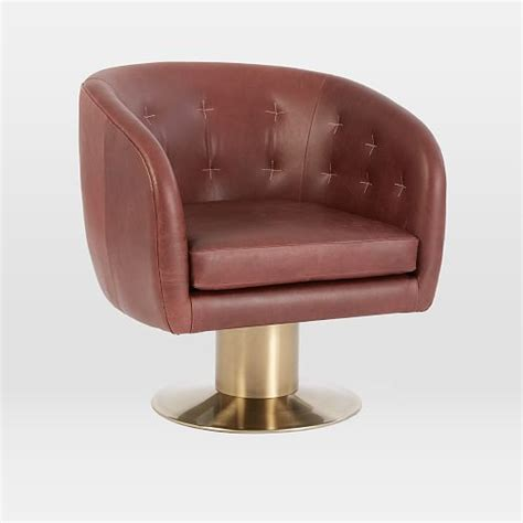 Tufted Pedestal Leather Swivel Chair West Elm Pedestal Swivel Chair