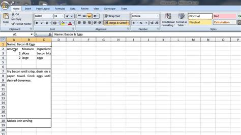 create  recipe template  word excel computer tips youtube