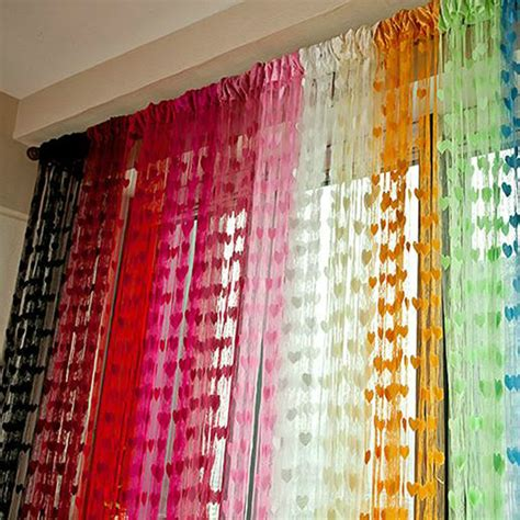 colorful curtains heart panel string tassel curtain sheer portiere window