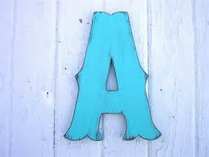 Decorated Wooden Letters Wooden Letters A 12 Decorative Painted Aqua Green