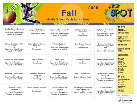 school lunch menu template best and various templates