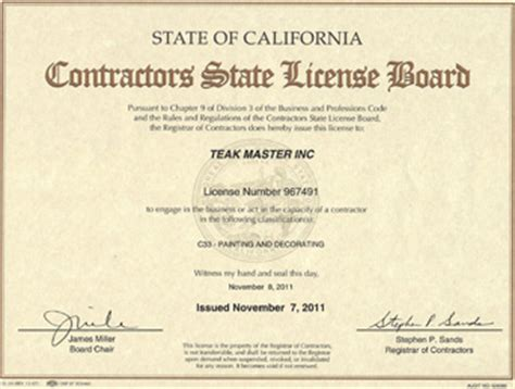 contractors state license board about teak master