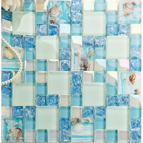 mosaic glass tile backsplash blue glass mosaic tile backsplash crackle glass